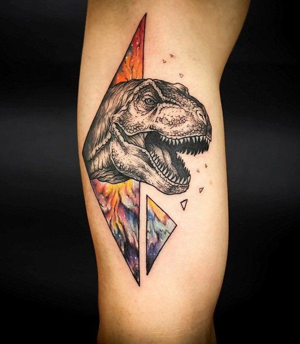 Dinosaur illustration style tattoo - This colorful 3D dinosaur design is perfect for sci-fi fans. Would likely remind you of Jurassic Park movie franchise or perhaps those old comic books you had before.