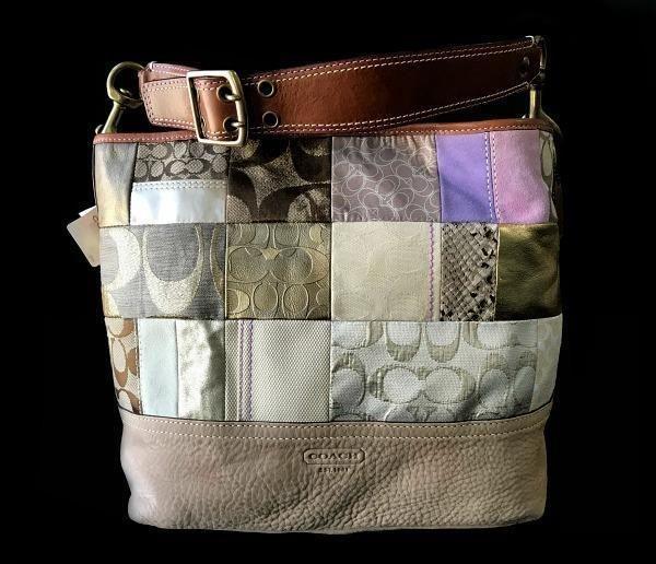 NWT Coach Khaki Suede Signature Patchwork Whiskey Trim Shoulder Tote Bag  Purse  Coach  HandbagPurseShoulderBagTote fedd5453c0