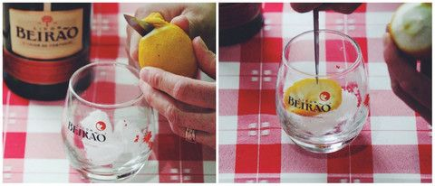 Licor Beirão com gelo e limão.