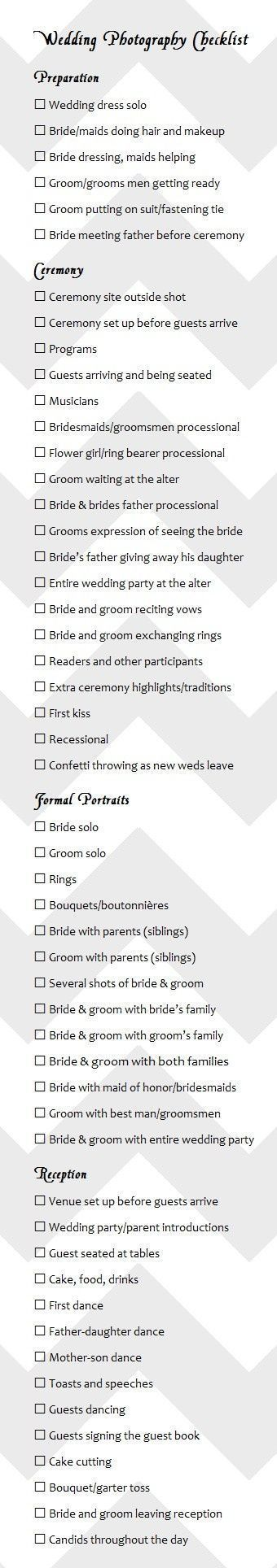 Best  Wedding Photography Checklist Ideas On