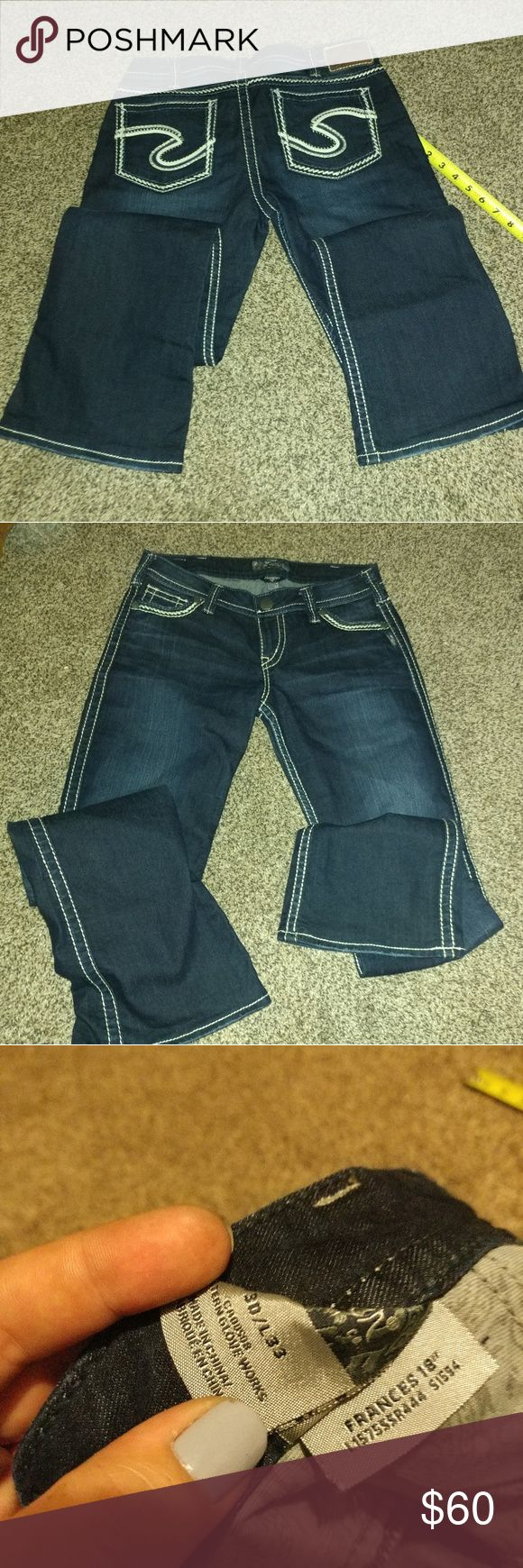 "30x33 NWOT womens silver jeans Frances 18"" Dark blue wash perfect nwot, selling for a friend! Feel free to ask any questions and thanks for looking! Silver Jeans Jeans"