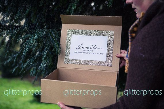 Large A4 Personalised glitter gift box for bridesmaids present, maid of honour gift bag, mother of bride wedding gift, flower girl presents.