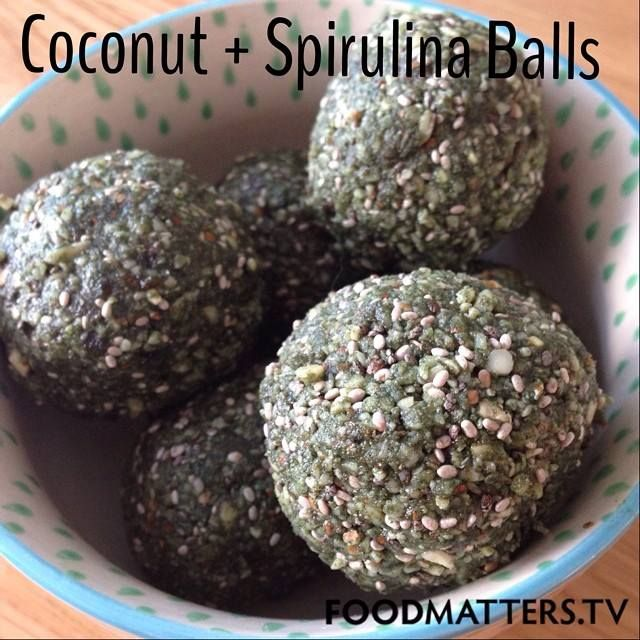 Coconut & Spirulina Balls Recipe by Chef Pete Evans is one of the Food Matters favorites! Packed full of healthy fats, fibre and protein!