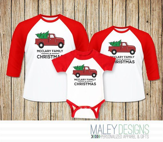 Matching Christmas Shirts For Family.Vintage Truck Matching Family Christmas Pajamas Matching