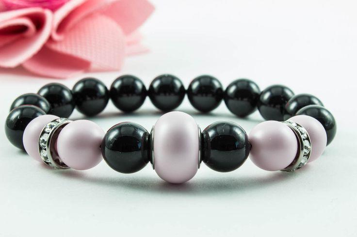 Swarovski mystic black/pastel rose karkötő, kristály dísszel