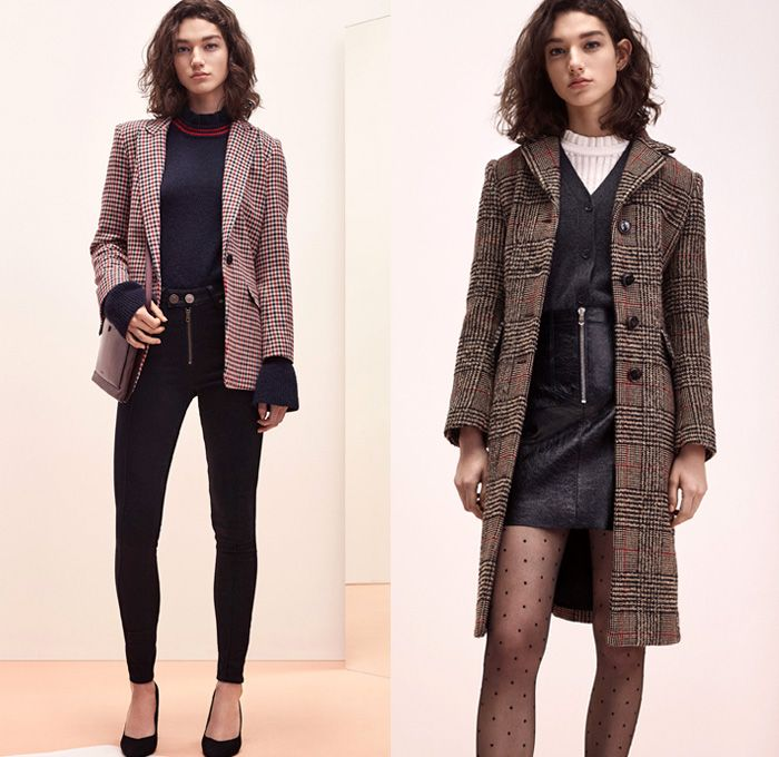 Sandro 2017-2018 Fall Autumn Winter Womens Lookbook Presentation - Mode à Paris Fashion Week Mode Féminin France - Denim Jeans Patchwork Frayed Raw Hem Destroyed Destructed Skinny Outerwear Coat Plush Fur Shearling Quilted Waffle Puffer Down Bomber Marching Band Bandleader Drum Corps Jacket Knit Sweater Sweatshirt Turtleneck Blazer Cardigan Flowers Floral Motif Plaid Tartan Check Miniskirt Leather Stockings Tights Hosiery Cropped Pants Long Sleeve Shirt Blouse Stripes Corduroy Ruffles Zigzag…