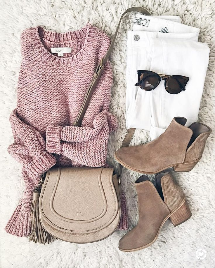 Solid Pink Sweater + White, Skinny Jeans + Brown, low heel booties