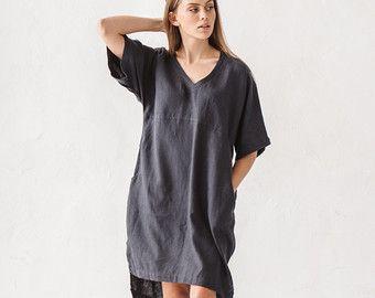 leinenkleid nat rliche graue leinenkleid lockere kleidung leinen tunika minimal leinen. Black Bedroom Furniture Sets. Home Design Ideas