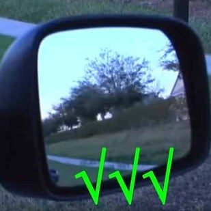 When you adjust your side mirrors, usually you turn them so that you can see the back sliver of your car and think you're good to go. But you already know where the back of your car is: it's right behind you!! Instead, turn your mirrors until just after your car disappears from view and you can almost eliminate those pesky and dangerous blind spots.