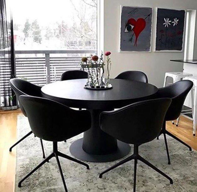 Black Dinning Set Granada Table With Adelaide Chairs