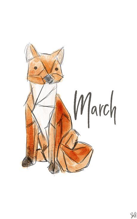 Wallpaper, Freebie, March, März, Origami Fox, Fuchs, Desktop, Hintergrund, Smartphone