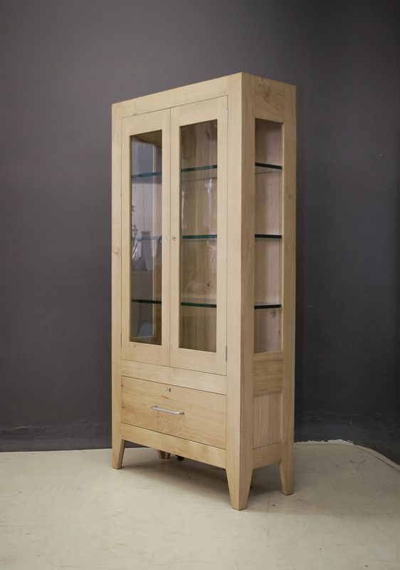Custom French Oak display cabinet with glass panels and shelving