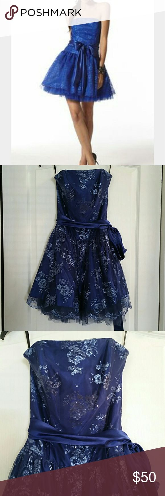 *Weekend Sale!!* Very pretty royal blue dress Flattering dress with lace and tulle. Tie at waist. Hidden zipper at back. In excellent condition, worn once for a wedding. Jessica McClintock Dresses Wedding