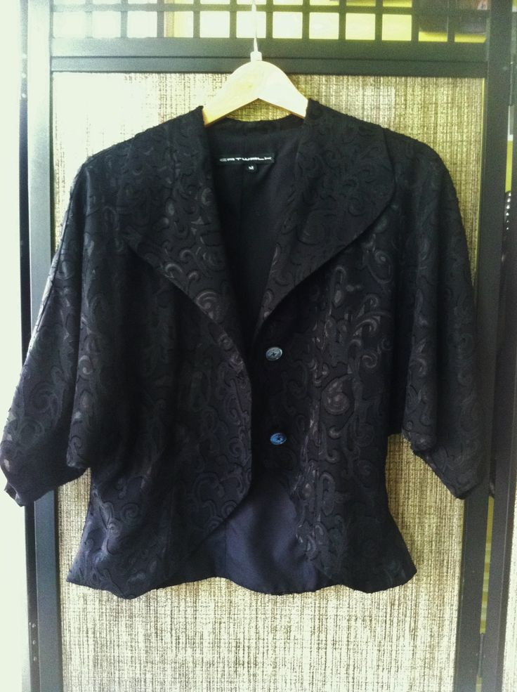 Deco - Parisian, vintage paisley peplum jacket with bat wing 3/4 inch sleeves - Color Black - Sizes Small, Medium and Large - Price $225.00 - Call Us: 646-284-5049