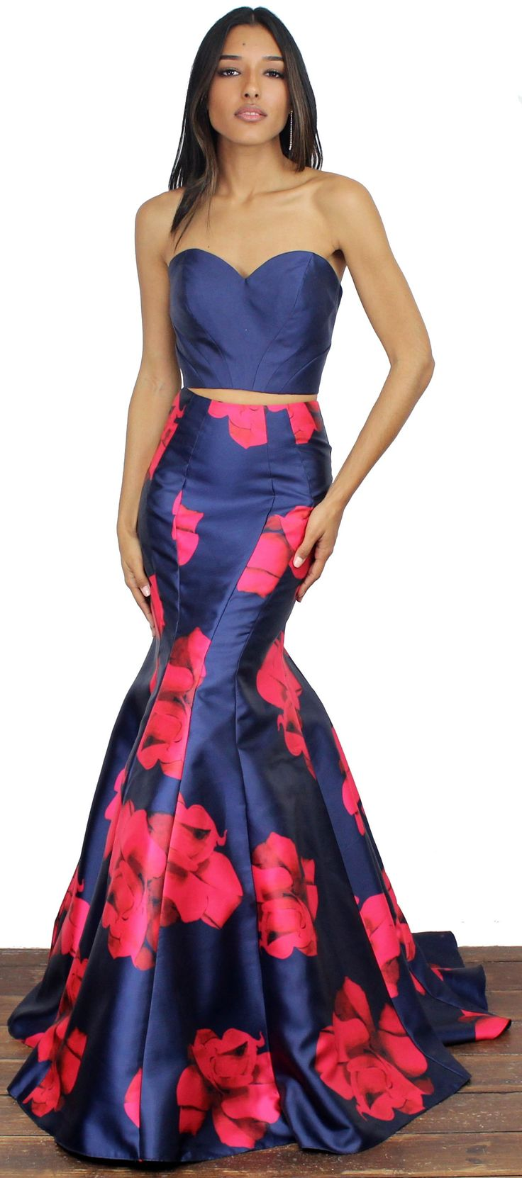 Bloom with a navy twopiece set gown strapless dress