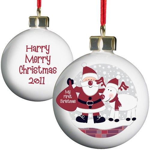 Personalised Rooftop Santa 1st Christmas Bauble  from Personalised Gifts Shop - ONLY £9.99