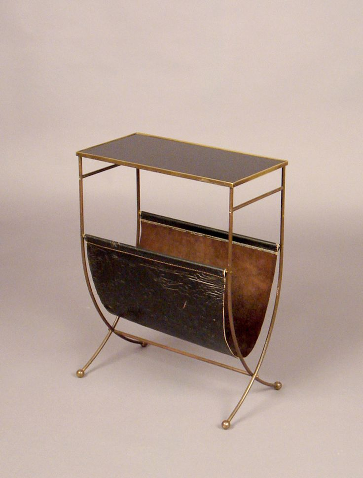 Jean Royère; Brass, Leather and Glass Side Table, c1950.