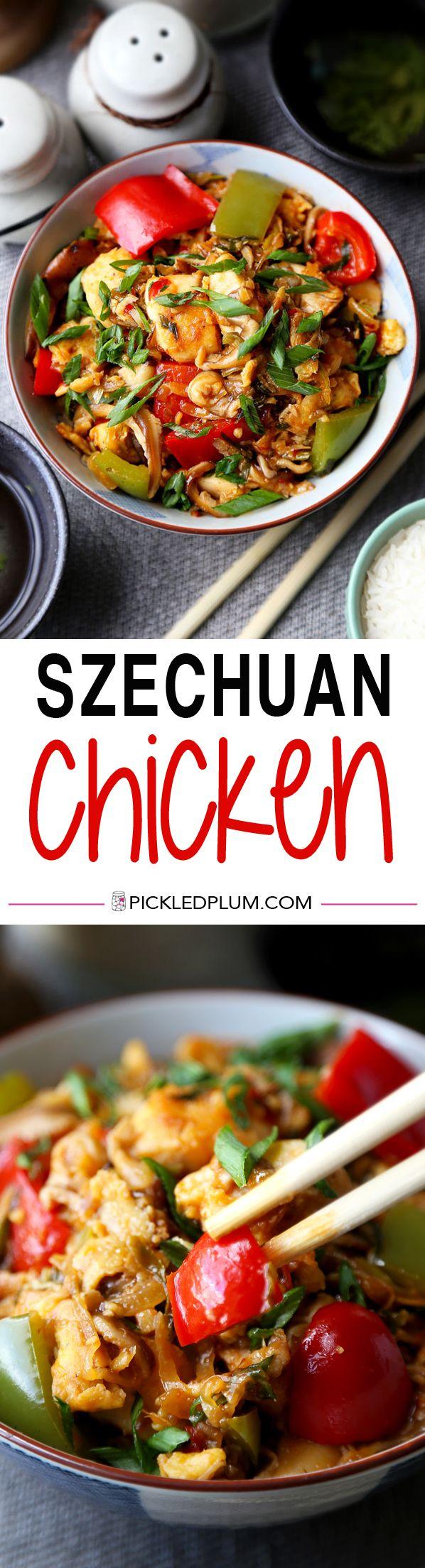 Spicy, healthy and easy Szechuan Chicken Stir Fry Recipe - ready in 25 minutes! http://www.pickledplum.com/szechuan-chicken-recipe/