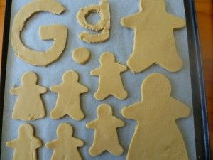 Baking with kids to teach letters - we made upper and lower case G from gingerbread for soft G week.  For younger kids, we've also used alphabet cutters to make (and later eat) their name from gingerbread.