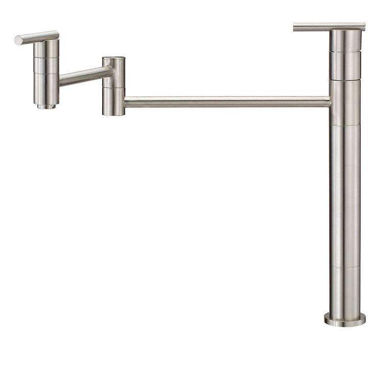 Danze Parma Stainless Steel Finish Deck Mount Modern Pot Filler Faucet