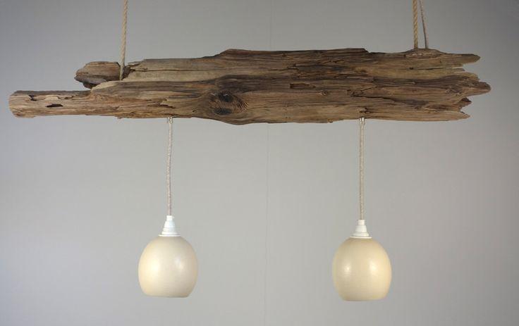 h ngelampe aus treibholz und 2 strau eneier von meister lampe auf lampen. Black Bedroom Furniture Sets. Home Design Ideas