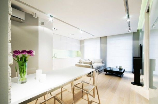 Apartment - Awesome Dining Room Furniture Ideas At White Water Apartment Choosing White Marble Top Table And Acrylic Chairs: Stylish and Uni...