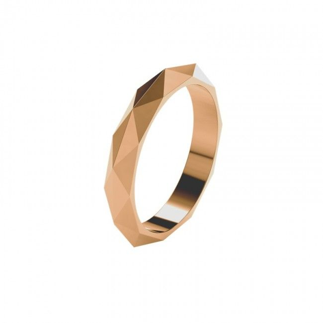 Faceteded Wedding Ring Band in 18k Rose Gold Pointed Skinny A showcase of subtle geometry - this 18k rose gold wedding band has a multitude of pointed facets covering its surface. The skinny width is perfect for a female wedding band or an everyday ring. Wear along or stacked with other rings.