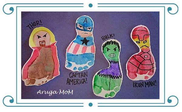 アメリカの保育園でも大人気。手形足型アート。Avengers