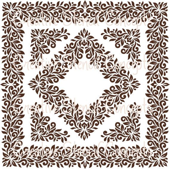 FLORAL DAMASK STENCIL Large Sizes Available 18 by CreativeStencils, $39.95