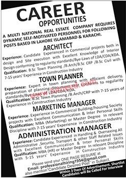 Multinational Real Estate Company Jobs for Architect, Town Planner & Marketing / Administration Manager A multinational real estate company requires dynamic self-motivated personnel for following posts based in Lahore, Islamabad and Karachi.   #Administration Jobs #Architect Jobs #Marketing Jobs #Real Estate Company Jobs #Town Planner Jobs