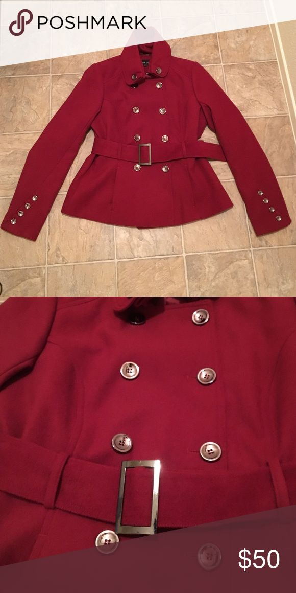 Black Rivet Double breasted Pea Coat gorgeous cranberry color, in like new condition. belt included! Black Rivet Jackets & Coats Pea Coats