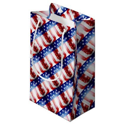 #American Flag Background Small Gift Bag - #4thofjuly #patriotic #patriot Independence Day Fourth of July July Fourth waving the flag