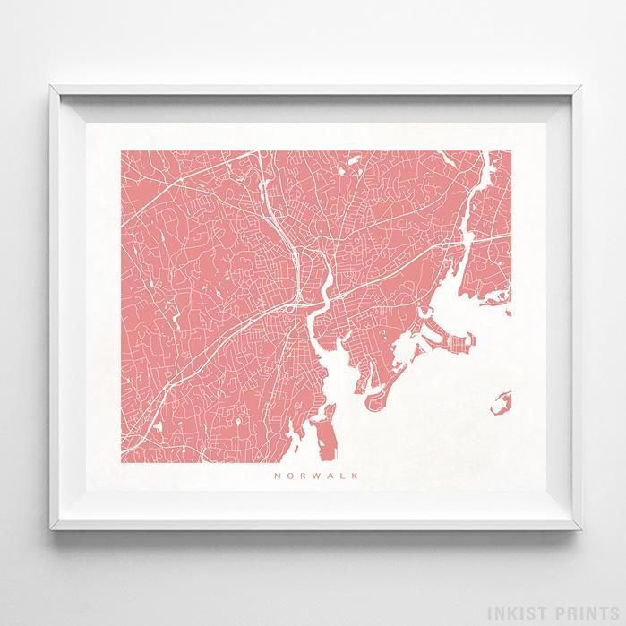 Norwalk Connecticut Street Map Wall Decor Poster. 70 Color Options. Prices from $9.95. Available at InkistPrints.com - #streetmap#map #homedecor #walldecor #Norwalk #Connecticut