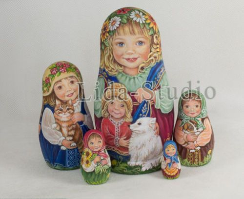 Matrioshka-Girls-with-their-little-brother-and-white-doggy-by-Lida-Studio