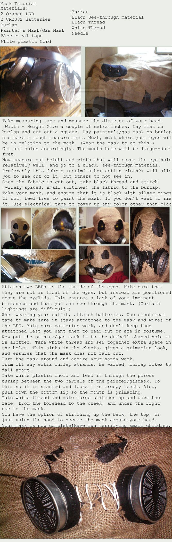 Scarecrow mask tutorial - http://defenestrate-felt.deviantart.com/art/Scarecrow-Mask-Tutorial-162749334