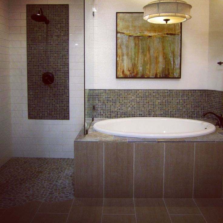 Fusion Bathroom: Ceramic, Glass, And Slate Tile (With