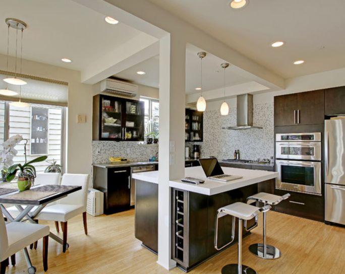 Support beam at center edge of island kitchen islands for Kitchens with islands in the middle