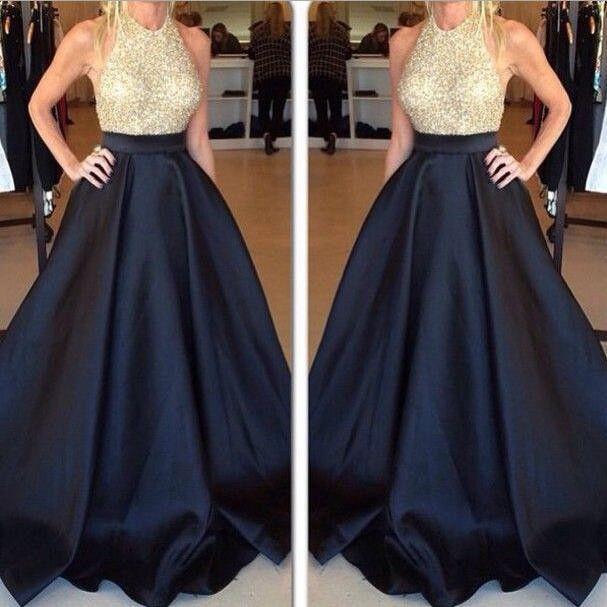 Shiny Bodice Ball Gown Prom Dresses Halter Neckline Satin Skirt Pst0073 on Luulla