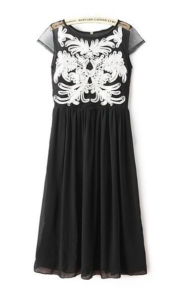 Love Love Love this Dress! So Pretty! Black and White Floral Printing Pleating Hem Short Sleeves Long Dress #Black_and_White #Fashion