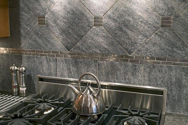 Stainless Steel & Stone Backsplash