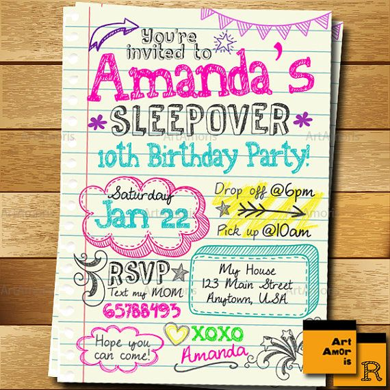 Sleepover Invitation, Doodle Teen Notebook Sleepover Invitation, Slumber Party Invitation, Pajama Party Invitation R-144 * This is printable digital file and NO physical items will be sent to you. --------------★★★ PURCHASING INSTRUCTIONS ★★★-------------- * Purchase this item and complete checkout. Upon check-out, please leave the following information in NOTE TO SELLER: Name : Age : Party Day & Date : Time : Address & Venue : RSVP Information (phone number and/or email address) : Any ...