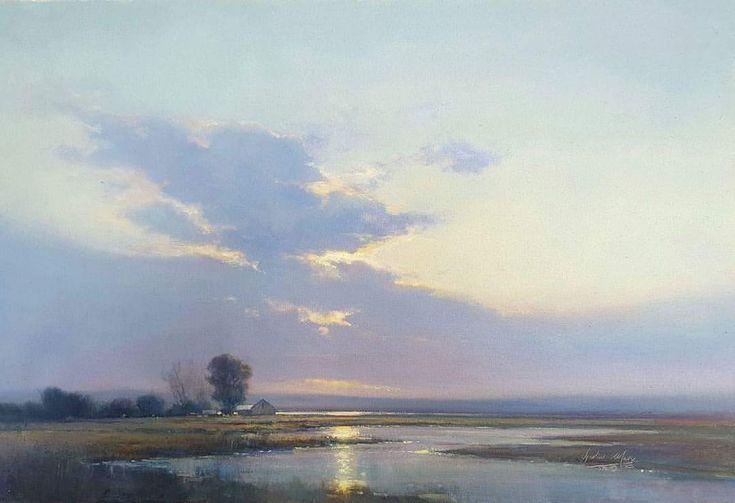 Evening on the Vlei. Oil on Canvas, 76x51cm. Ignatius Marx.