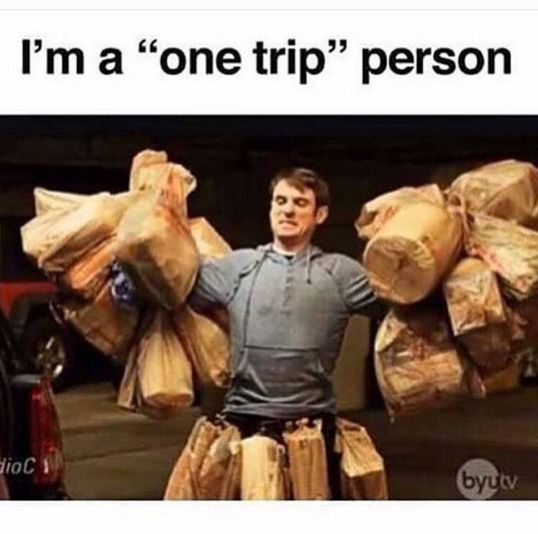 Never taking two trips: