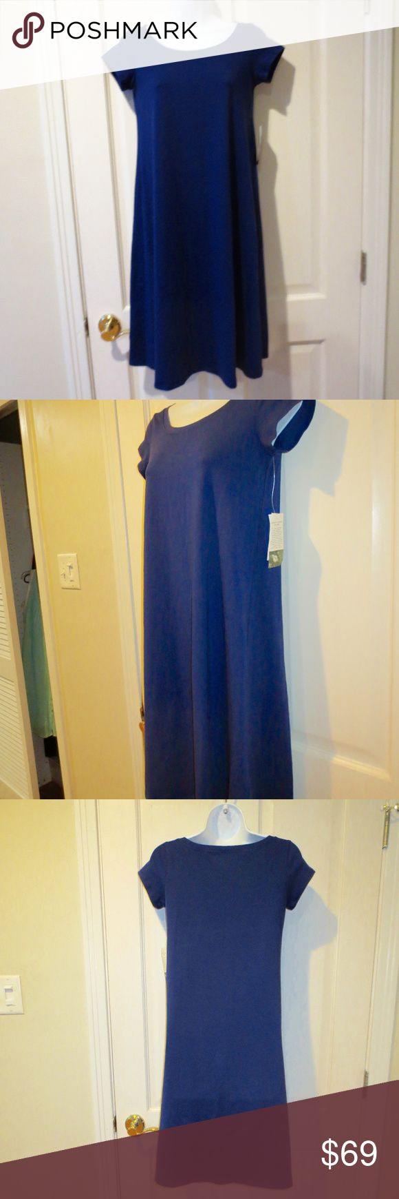 Eileen Fisher Organic Cotton Stretch Jersey Dress New with tags. Color is Sapphire. Cap Sleeves, ballet neck and knee length - attractive, flare length. Size PP. Eileen Fisher Dresses