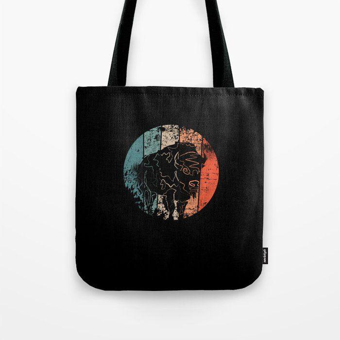 printed canvas tote bag Bison Tote Bag Buffalo tote bag gift for women