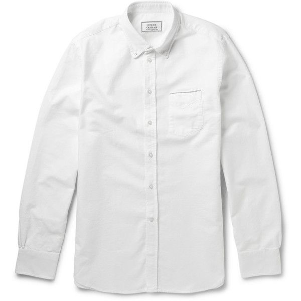 Officine Generale Button-Down Collar Selvedge-Edge Cotton Oxford Shirt ($295) ❤ liked on Polyvore featuring men's fashion, men's clothing, men's shirts, men's casual shirts, white, mens white oxford shirt, mens oxford shirts, mens white button down collar shirts, mens button down collar shirts and mens cotton oxford shirts