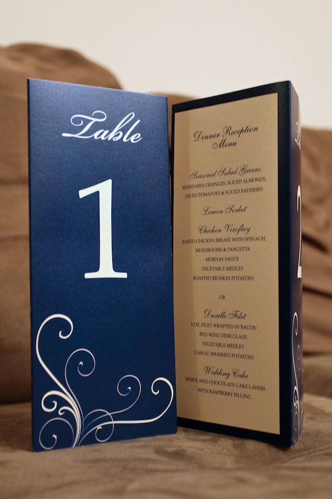 neat menu/table number combo