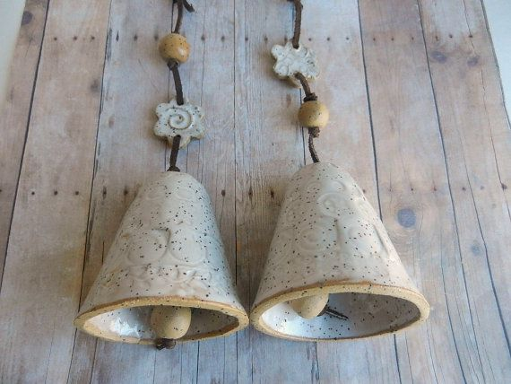 Ceramic Garden Bell pottery bell clay bell by potteryhearts