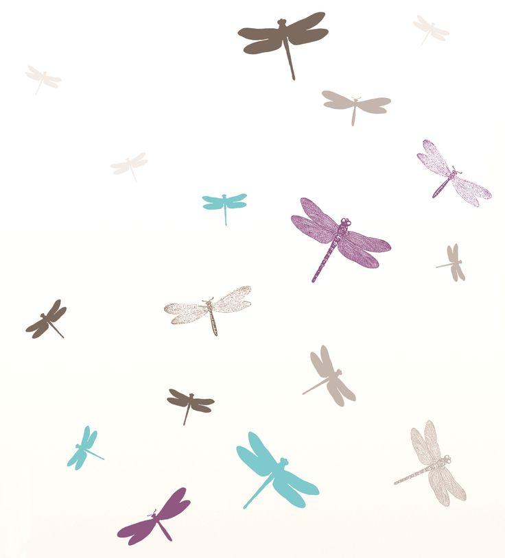 Cool Wandtattoo Libellen lila t rkis