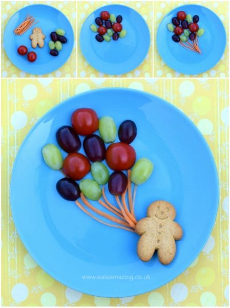 Fun, healthy and easy Food Art Plates for kids - fun balloon snack with full instructions from Eats Amazing UK - see post for more fun and easy food art plate ideas! #funwithtrukid #family #happykids